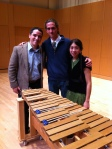 From left to right: Victor Marquez-Barrios, Alex Smith, Kelsey Tamayo; with the Michigandered Marimba.